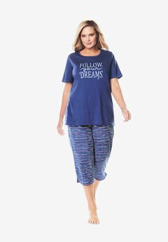 Graphic Tee Capri PJ Set ,
