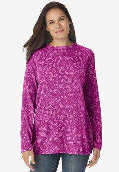 Thermal Sweatshirt, RASPBERRY STAMP BLOSSOM