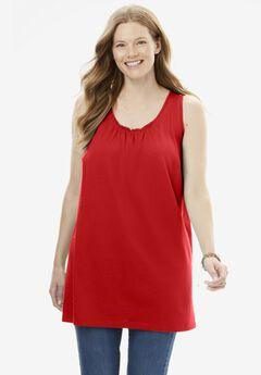 Perfect Sleeveless Shirred U-Neck Tunic,