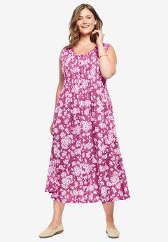 Pintucked Floral Sleeveless Dress, RASPBERRY DAISY