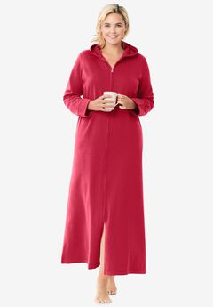 Hooded Fleece Robe , CLASSIC RED