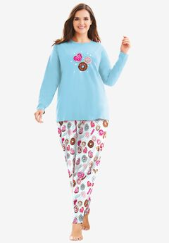 Long Sleeve Knit PJ Set , IVORY DONUTS