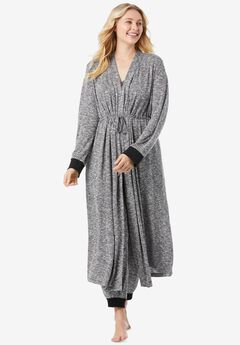 Marled Long Duster Robe , HEATHER CHARCOAL GREY MARLED