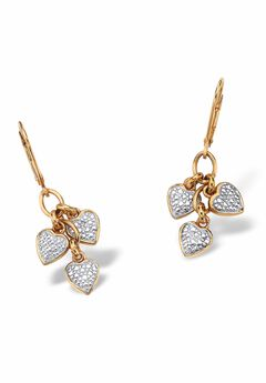 Gold over Sterling Silver Heart Charm Drop Earrings with Diamond Accents,