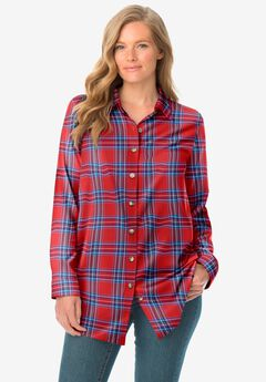 Classic Flannel Shirt, RED FUN PLAID