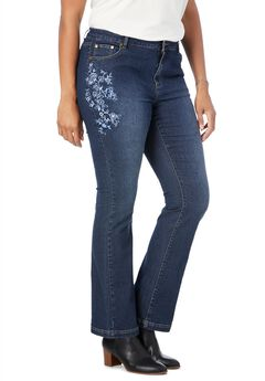 Bootcut Stretch Jean, MIDNIGHT SANDED TONAL BLOSSOM