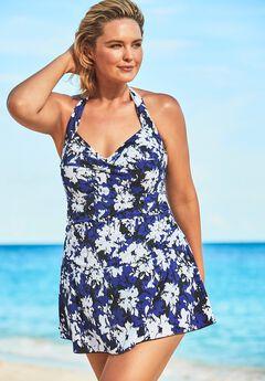 Retro Halter Swim Dress ,