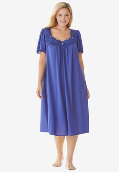 Short Silky Lace-Trim Gown , ULTRA BLUE