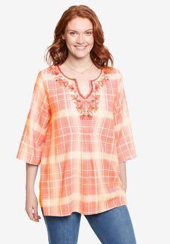 embroidered plaid shirt,