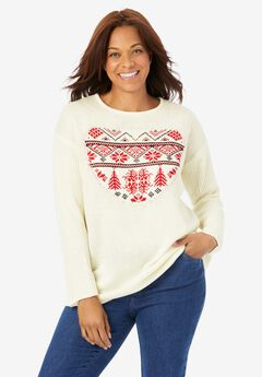 Holiday Pullover Sweater, IVORY FAIR ISLE HEART