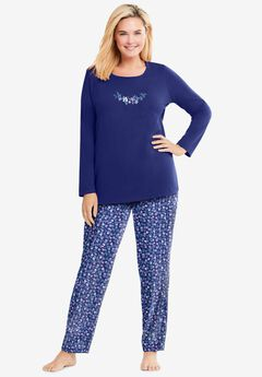 Long Sleeve Knit PJ Set , EVENING BLUE FLOWERS