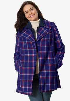 Wool-Blend Double-Breasted Peacoat, NAVY PLAID