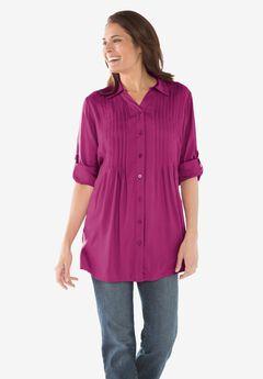 Pintucked Print Tunic Shirt, RASPBERRY