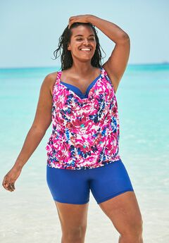 Bra-Sized Blouson Tankini Top,