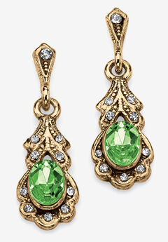 Gold Tone Antiqued Oval Cut Simulated Birthstone Vintage Style Drop Earrings,