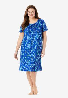 Dreams & Co® Pintuck Cooling Sleepshirt, ULTRA BLUE BURST