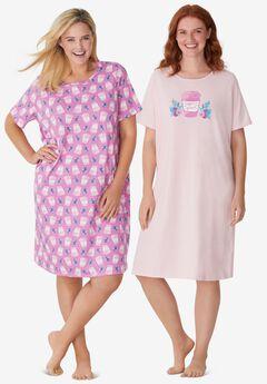 2-Pack Short-Sleeve Sleepshirt , ROSEBUD CAFFEINE QUEEN