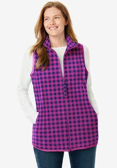 Zip-Front Microfleece Vest, RASPBERRY BUFFALO PLAID