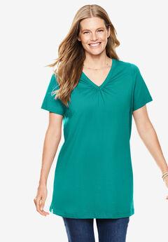 Perfect Short-Sleeve Shirred V-Neck Tunic,
