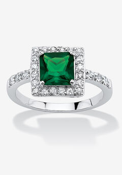 Simulated Birthstone and Crystal Halo Ring in Sterling Silver,