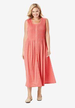 Pintucked Floral Sleeveless Dress, SAHARA ORANGE PRETTY GEO