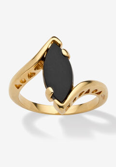 18k Yellow Gold-Plated Natural Black Onyx Marquise Shaped Bypass Ring,