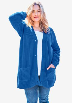 Long-Sleeve Shaker Cardigan Sweater,