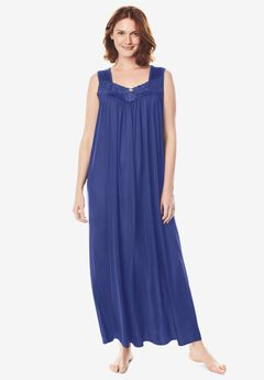 Long Tricot Knit Nightgown ,
