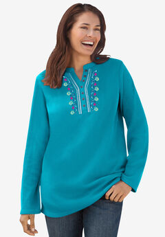 Embroidered Thermal Henley Tee,
