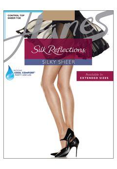 Hanes Silk Reflections Control Top Sheer Toe Pantyhose,
