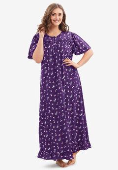 Long Floral Print Cotton Gown , RICH VIOLET FLORALS