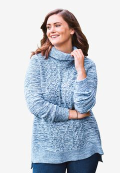 Turtleneck Cable Long Sleeve Sweater,