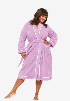 Spa Terry Short Wrap Robe , PEONY PETAL