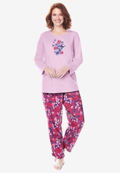 Long Sleeve Knit PJ Set , STRAWBERRY ROSE