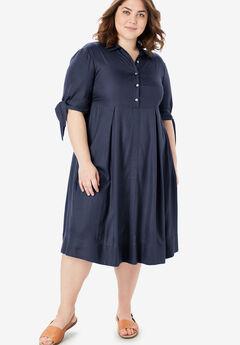 Tie-Sleeve Henley Dress, NAVY