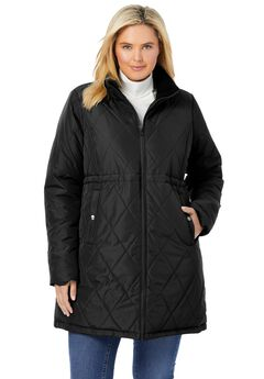 Quilted Down Fill Coat, BLACK