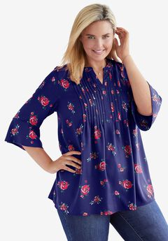 Pintucked Ruffle Sleeve Blouse,