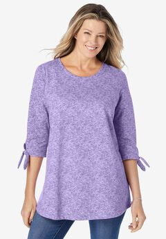 French Terry Tie-Sleeve Sweatshirt,