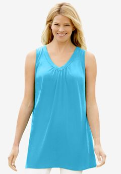 Perfect Sleeveless Shirred V-Neck Tunic,