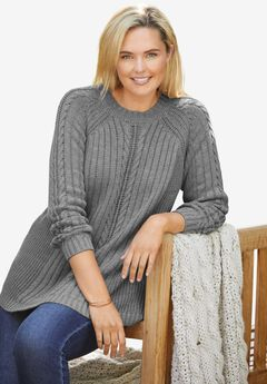 Cable Mockneck Pullover Sweater,