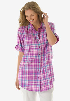 Linen Blend Button-Front Shirt,