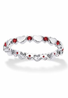 Sterling Silver Simulated Birthstone Heart Eternity Ring,
