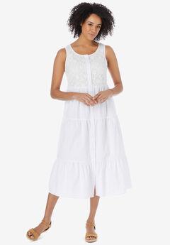 Denim Lace Bib Dress,