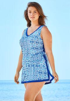 2-Piece Swim Skirtini Set , BLUE PATCHWORK