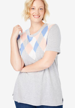 Pullover Short Sleeve Fine Gauge Sweater,