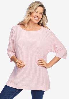 Three-Quarter Sleeve Pullover Shaker Sweater,