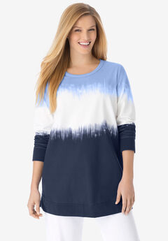 Tie-dyed knit sweatshirt tunic,