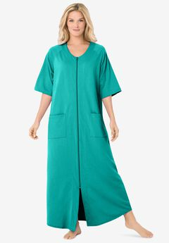 Long French Terry Zip-Front Robe , AQUAMARINE