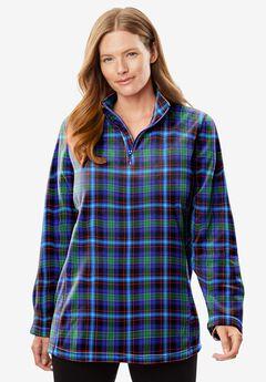 Microfleece Quarter-Zip Pullover, BLUE PLAID