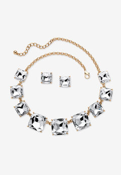 Gold Tone Necklace and Earring Set, Princess Cut Simulated Birthstones,